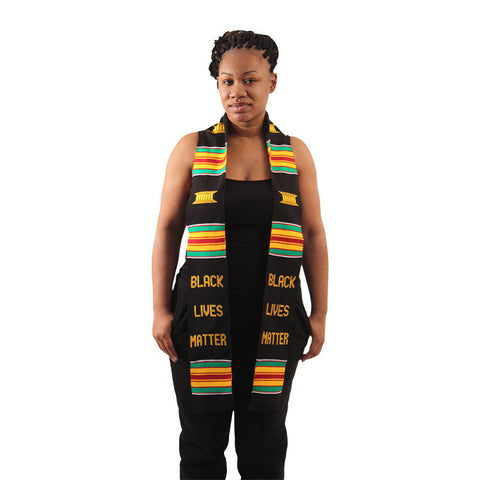 Black Lives Matter Unisex Sash - Kente and Black