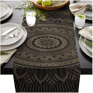 Black Mandala Table Runner