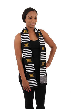 Black, White and Gold Afrocentric Sash -  Unisex