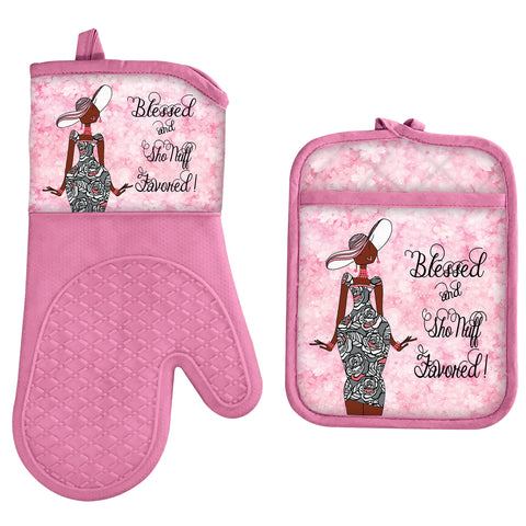 Blessed and Favored Oven Mitt and Pot Holder Set