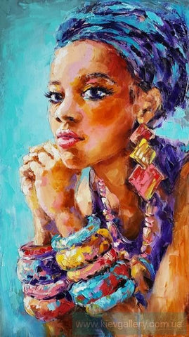 Blue Headwrap and Bangles - Canvas (Unframed)