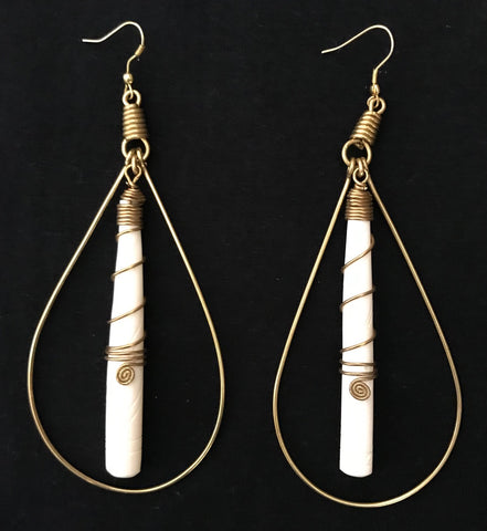 Bone and Brass Hoop Earrings