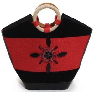 Jute, Leather and Wood Handbag - Red