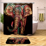 Elephant Shower Curtain and Mat Set - Multi Color