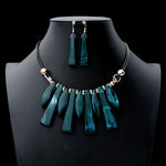 Geometric Necklace and Earring Set - Emerald