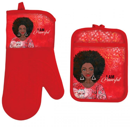 I Am Powerful Oven Mitt and Pot Holder Set