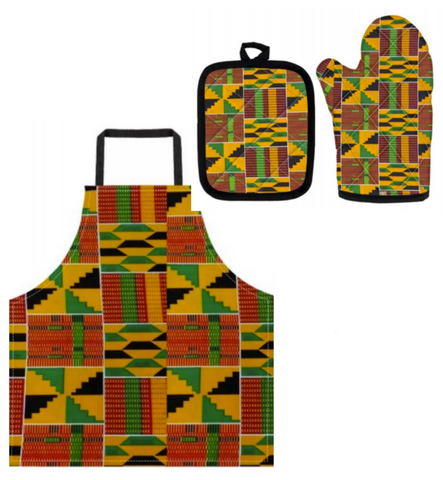 Kente Apron, Oven Mitt and Pot Holder Set