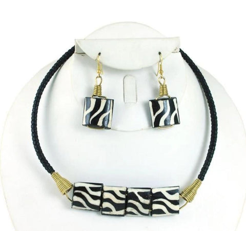 Kenyan Cow Bone Choker and Earring Set