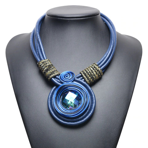 Rope Choker Necklace - Dark Blue/Blue