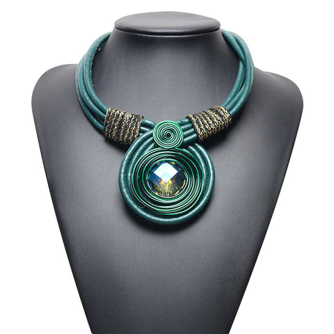 Rope Choker Necklace - Green/Gold