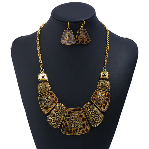 Leopard Print Necklace Set - Brown/Gold