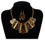 Leopard Pendant Necklace Set - Brown/Gold