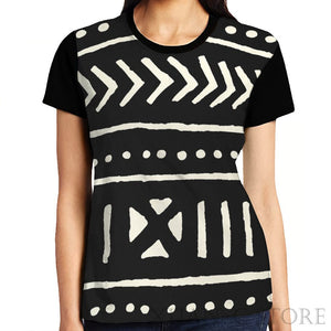 Women's Mud Cloth Pattern T-Shirt (Black)