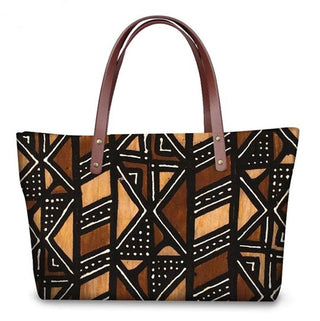 Mud Cloth Pattern Large Tote Bag
