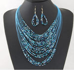 Multi Layer Beaded Necklace - Blue