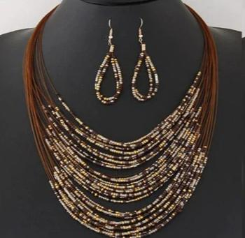 Multi Layer Beaded Necklace - Brown