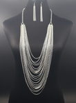 Multi Tassel Necklace Set - Silver