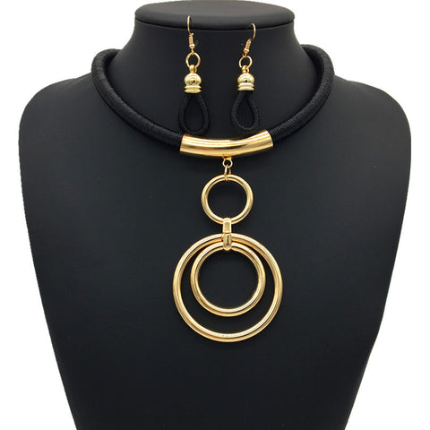 Nigerian Ring Necklace Set - Black