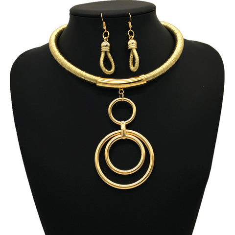 Nigerian Ring Necklace Set - Gold