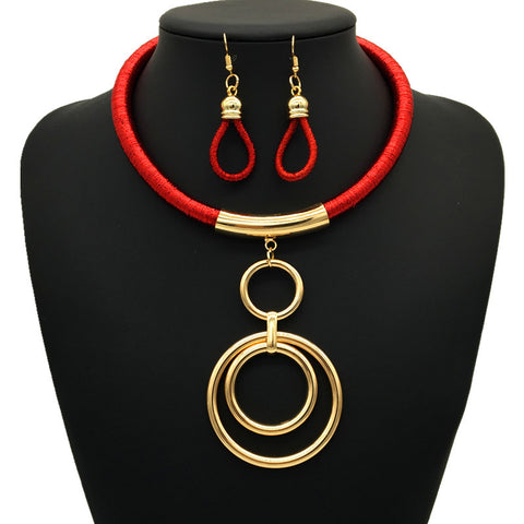Nigerian Ring Necklace Set - Red