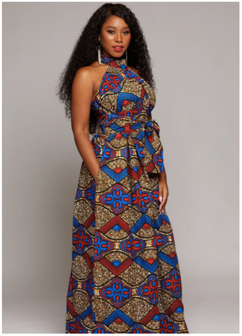 Ronke African Print Halter Maxi Dress (Blue-Red-Brown)