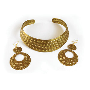 Studded Brass Choker & Earrings