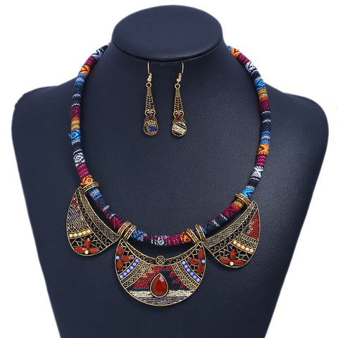 Tribal Cord Necklace and Cloth Earring Set - Brown