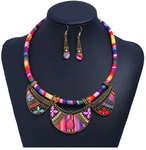 Tribal Cord Necklace and Cloth Earring Set - Red/Mauve/Pink Tones