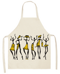 Tribal Dancers Cooking Apron - White/Yellow