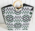 Tribal Print Handbag w/ Wooden Handles (Black-White)
