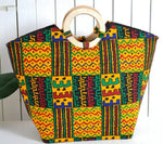 Tribal Print Handbag w/ Wooden Handles (Kente Fabric)