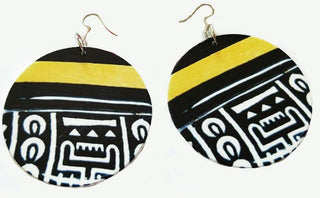 Tribal Totem Earrings (Black-White-Gold)