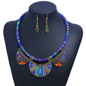 Tribal Cord Necklace and Cloth Earring Set - Blue