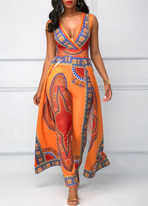 Dashiki Print Orange Jumpsuit