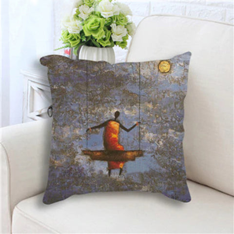 Woman on Swing Pillow