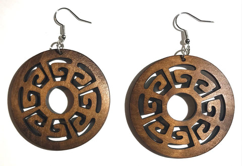 Wooden Carved Geometric Earrings
