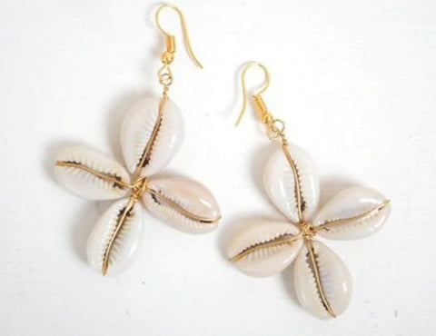 Cowrie Shell Earrings - Star Shaped