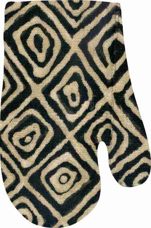 Mudcloth Black Oven Mitt and Pot Holder Set