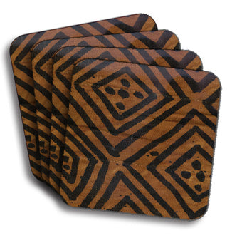 Mudcloth Coasters - Brown