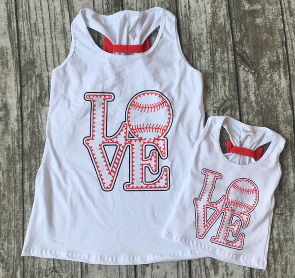 LOVE Baseball Back Bow Mommy and Me Top - Gabskia