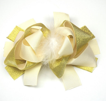Cream, Gold and Marabou 6in Boutique Bow - Gabskia