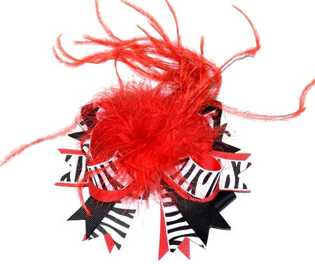Red Zebra/Ostrich Feather Boutique Bow - Gabskia