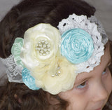 Cluster of Aqua and Ivory Lace Headband - Gabskia