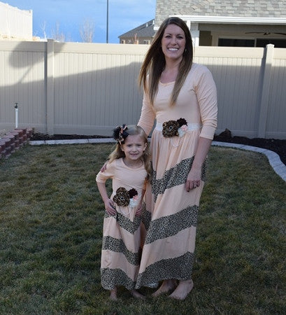 Maxi Dress Mommy - Peach w/Leopard - Gabskia