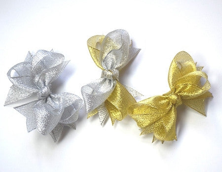 3.5 - 4in Metallic Chunky Bows - Gabskia