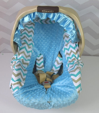 Chevron Car Seat Cover - Sky Blue/Gray - Gabskia