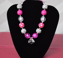Gray and Hot Pink Chunky Necklace