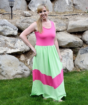 Maxi Dress Mommy - Lime and Hot Pink
