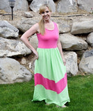 Maxi Dress Mommy - Lime and Hot Pink - Gabskia