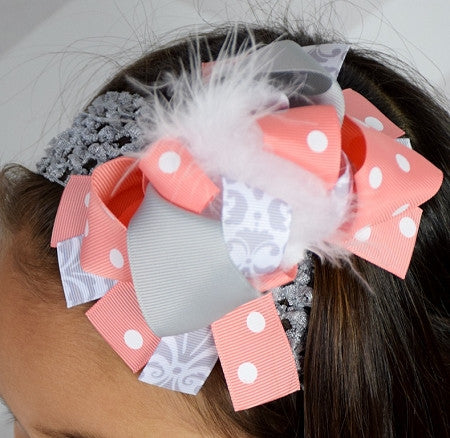 Gray Damask and Coral 5.5-6in Boutique Bow - Gabskia